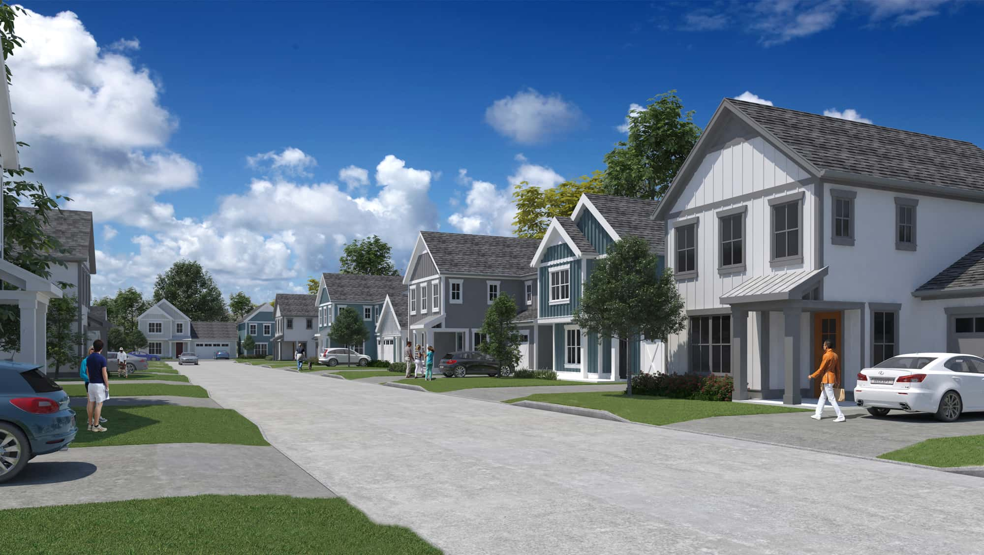 Rendering of neighborhood with two story houses green lawns and cars in driveways